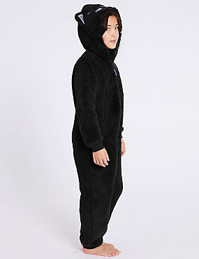 Hooded Onesie (1-16 Years), BLACK, catlanding