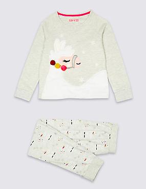 Cotton Rich Llama Pyjamas (3-16 Years), GREY MARL, catlanding