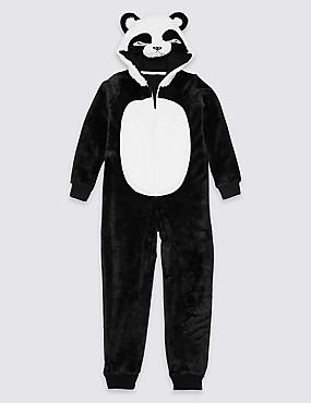 Hooded Panda Onesie (1-16 Years), BLACK, catlanding