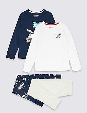 2 Pack Zebra Pyjamas (3-16 Years), DARK NAVY, catlanding