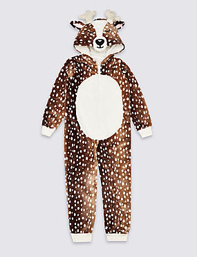 Deer Hooded Onesie (1-16 Years), BROWN, catlanding