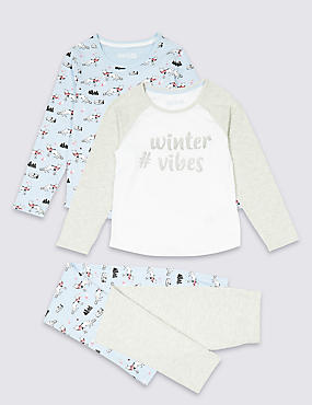 2 Pack Cotton Rich Pyjamas (3-16 Years), MINT, catlanding