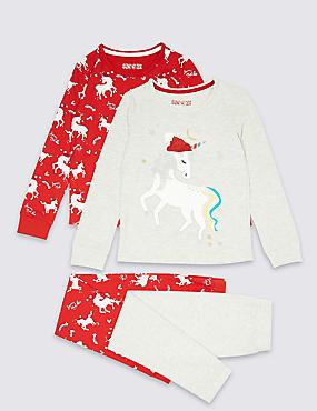 2 Pack Unicorn Pyjamas (3-16 Years), RED, catlanding