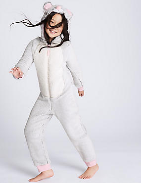 Mouse Hooded Onesie (1-16 Years), GREY MARL, catlanding
