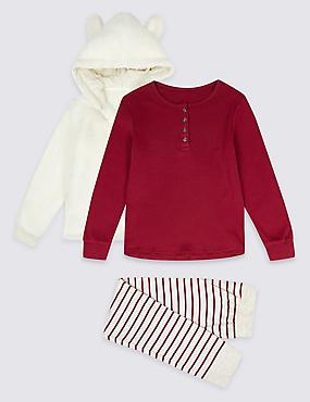 Hooded Outfit Pyjamas (3-16 Years), RASPBERRY, catlanding
