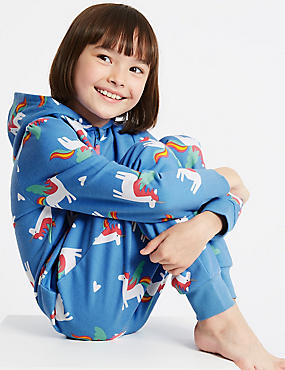Pure Cotton Unicorn Print Onesie (1-16 Years), BLUE MIX, catlanding
