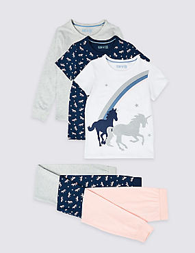 3 Pack Cotton Rich Pyjamas (3-16 Years), SOFT PINK, catlanding
