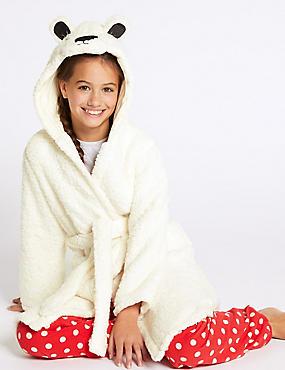 Hooded Bear Dressing Gown (1-16 Years), CREAM, catlanding
