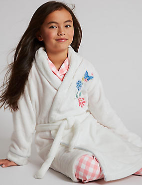 Embroidered Floral Dressing Gown with Belt (1-16 Years)