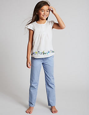 Pure Cotton Embroidered Pyjamas (1-16 Years)