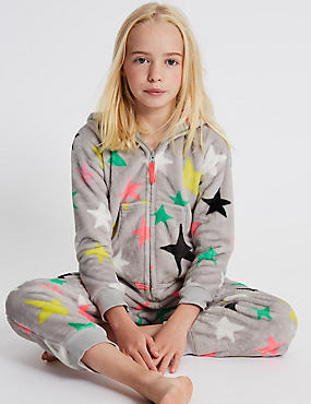Star Print Hooded Onesie (1-16 Years)