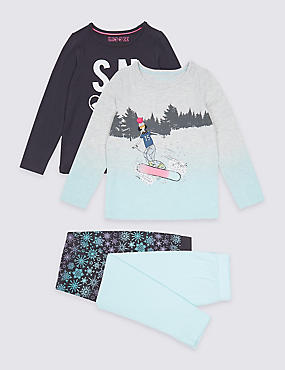 2 Pack Snowboard Print Pyjamas (3-16 Years)