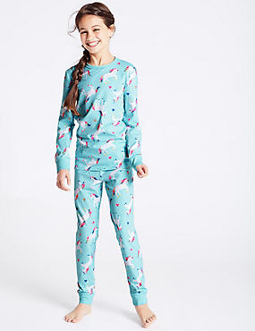 Cotton Unicorn Pyjamas with Stretch (1-16 Years)