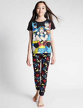 Pure Cotton DC Superheroes Print Pyjamas (6-16 Years)