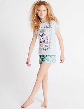 Printed Unicorn Emoji Short Pyjamas (6-16 Years)