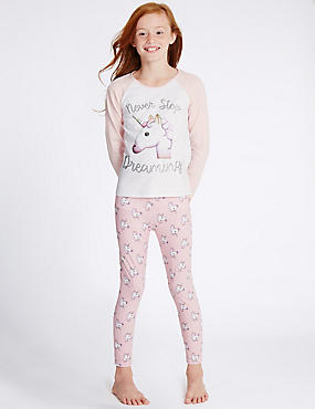Unicorn Print Long Sleeve Pyjamas (6-16 Years)