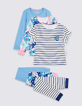 3 Pack Pyjamas (3-16 Years), BLUE MIX, catlanding