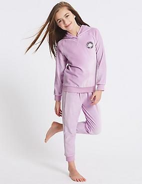 Hooded Lounge Marl Pyjamas (3-16 Years), PINK MIX, catlanding