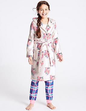 Floral Print Dressing Gown with Belt (1-16 Years)