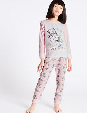 Unicorn Print Long Sleeve Pyjamas (3-16 Years)