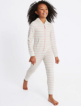 Cotton Rich Striped Hooded Onesie (1-16 Years)