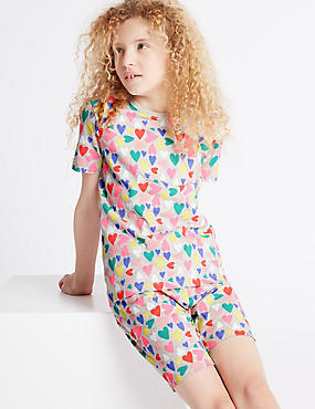 All Over Heart Print Short Pyjamas (1-16 Years)