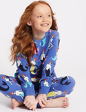 Mermaid Pyjamas with Stretch (3-16 Years), MEDIUM BLUE MIX, catlanding