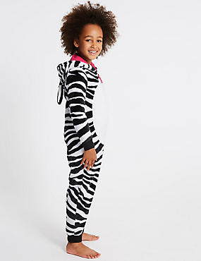 Zebra Print Hooded Onesie (1-16 Years)