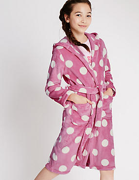 Long Sleeve Spotted Dressing Gown (1-16 Years)