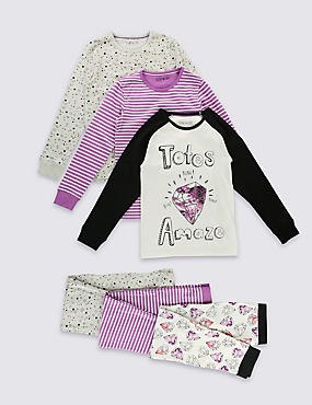 3 Pack Long Sleeve Assorted Pyjamas (6- 16 Years)