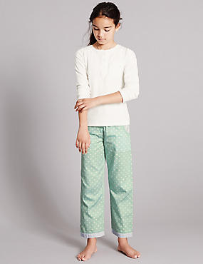 Pure Cotton Long Sleeve Pointelle Woven Pyjamas (1-16 Years)