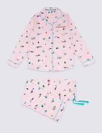 Pure Cotton Snow Scene Pyjamas (1-16 Years)