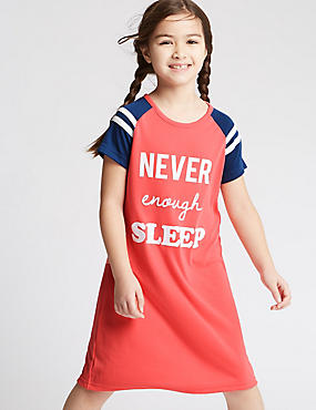 Short Sleeve Slogan Nightdress (3-16 Years)