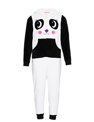 Hooded Panda Fleece Onesie (6-16 Years) Clothing