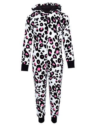 Hooded Leopard Print Fleece Soft & Cosy Onesie with StayNEW™ Clothing