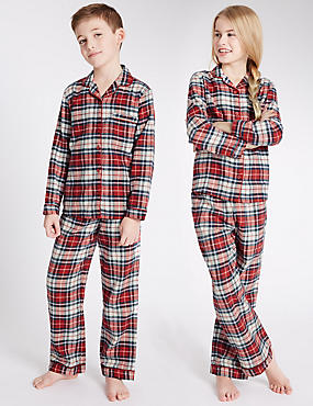 Kids' Unisex Pure Cotton Checked Pyjamas (1-16 Years)