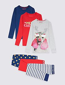 3 Pack Cotton Pyjamas with Stretch (3-16 Years)