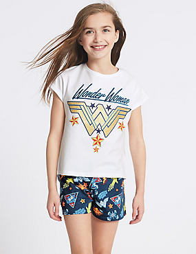 Wonder Woman™ Pure Cotton Short Pyjamas (5-14 Years)