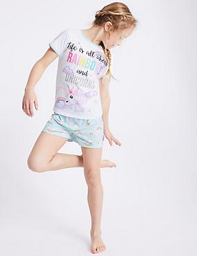 Printed Short Pyjamas (7-16 Years), WHITE MIX, catlanding