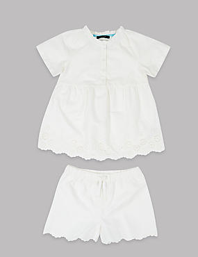 Pure Cotton Short Pyjamas (1-16 Years), IVORY, catlanding