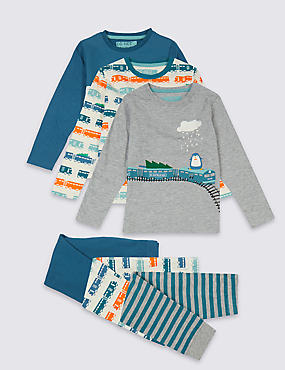 3 Pack Pyjamas (1-7 Years), MULTI, catlanding