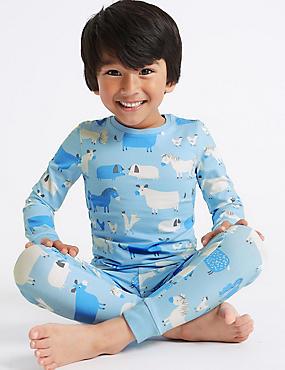 Cotton Pyjamas with Stretch (1-7 Years), BLUE, catlanding