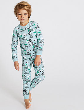 Cotton Pyjamas with Stretch (1-7 Years), TURQUOISE, catlanding