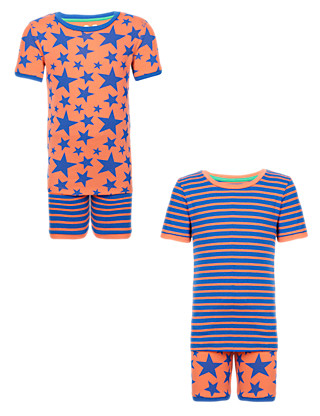 2 Pack Pure Cotton Star & Striped Short Pyjamas (1-7 Years) Clothing