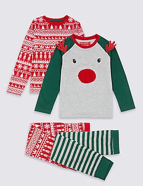 2 Pack Reindeer Face Pyjamas (1-7 Years), MULTI, catlanding