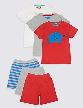 3 Pack Short Pyjamas (1-7 Years), BURNT SIENNA, catlanding