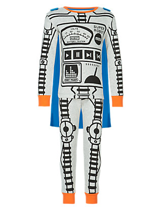 Cotton Rich Robot Pyjamas with Cape (1-7 Years) Clothing