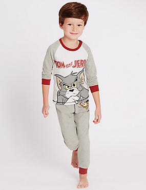 Long Sleeve Tom and Jerry Print Pyjamas (1-8 Years)