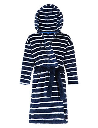 Anti Bobble Striped Hooded Dressing Gown with Belt (1-7 Years) Clothing