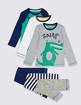 3 Pack Printed Pyjamas (1-7 Years), GREY MIX, catlanding